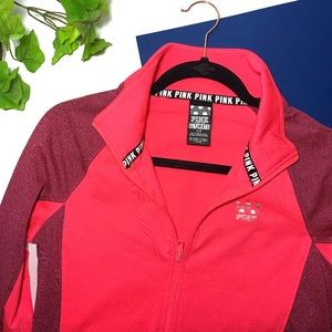 VS Pink Half Zip Sport Logo Jacket Small
